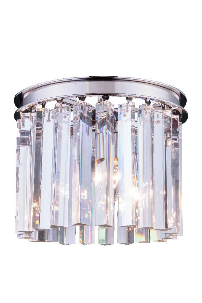 Elegant Lighting Light Polished Nickel Flush Mount Clear Royal Cut Crystal