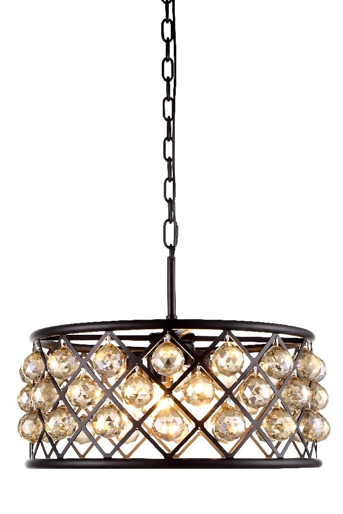 Elegant Lighting Light Matte Black Chandelier Golden Teak