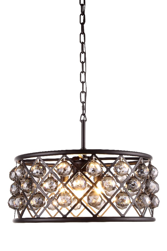 Elegant Lighting Light Matte Black Chandelier Silver Shade Grey Royal Cut Crystal