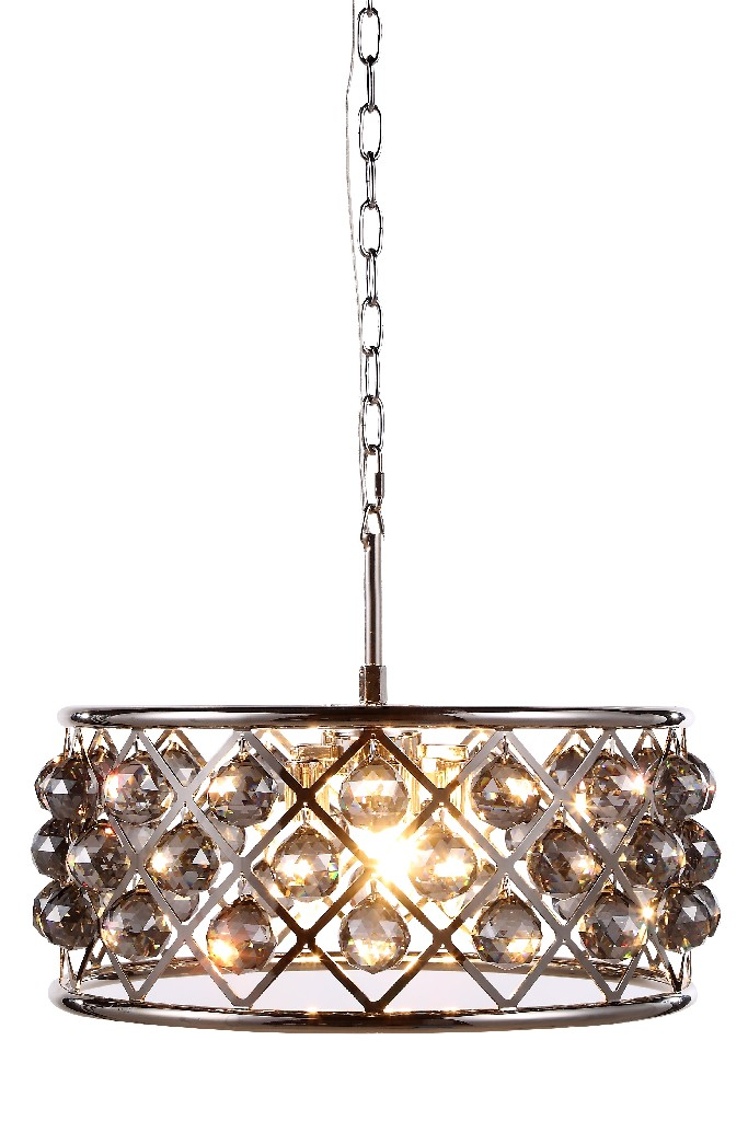 Elegant Lighting Light Polished Nickel Chandelier Silver Shade Grey