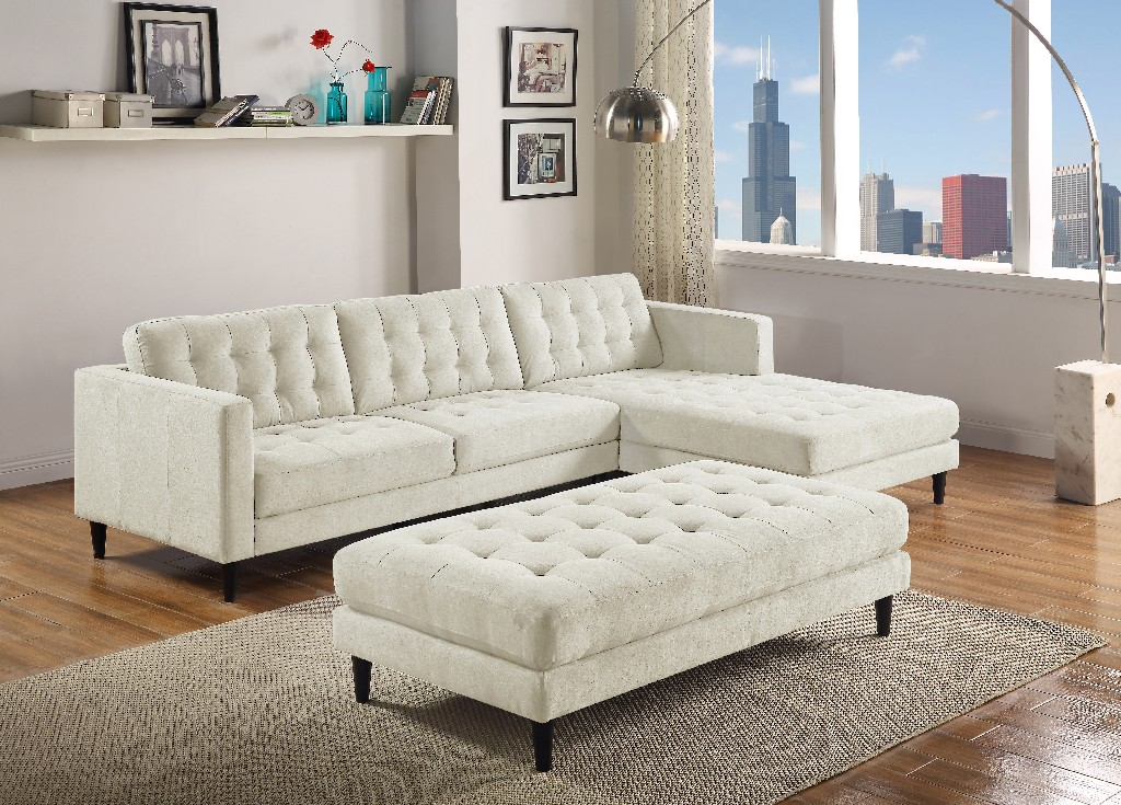Myco Liam Gray Sectional Polyster Fabric