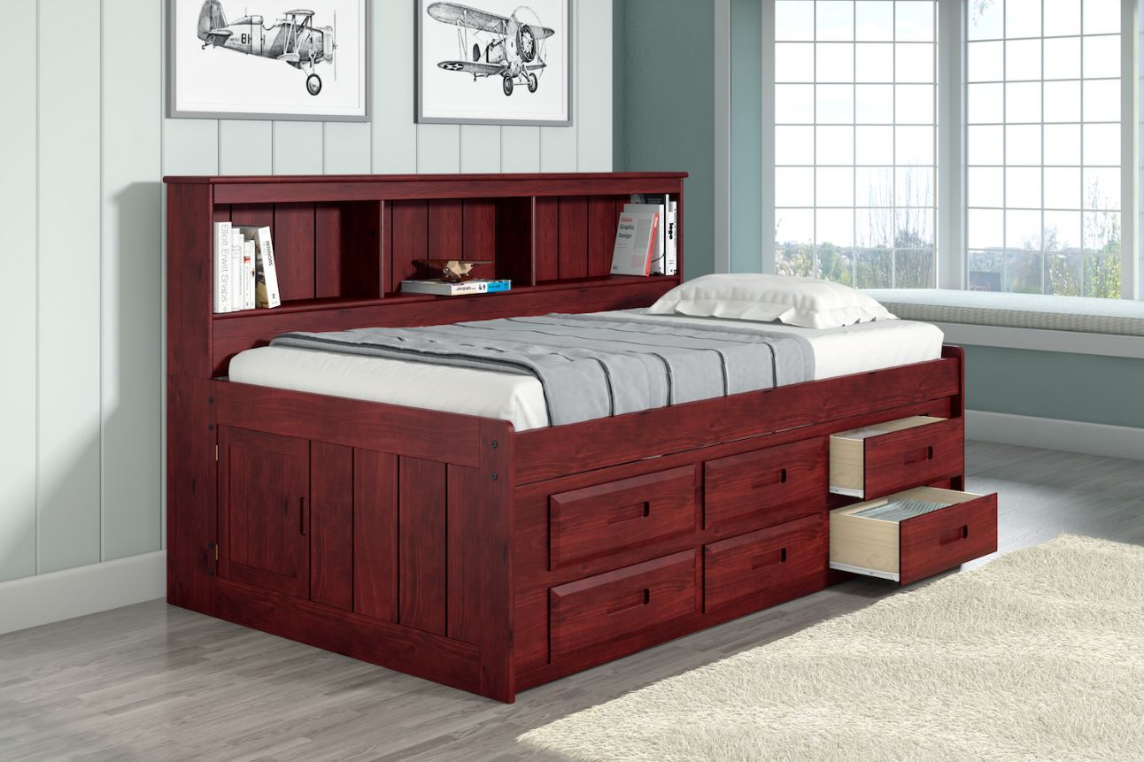 Donco Kids Twin Bookcase Captains Daybed Drawer Underbed Storage