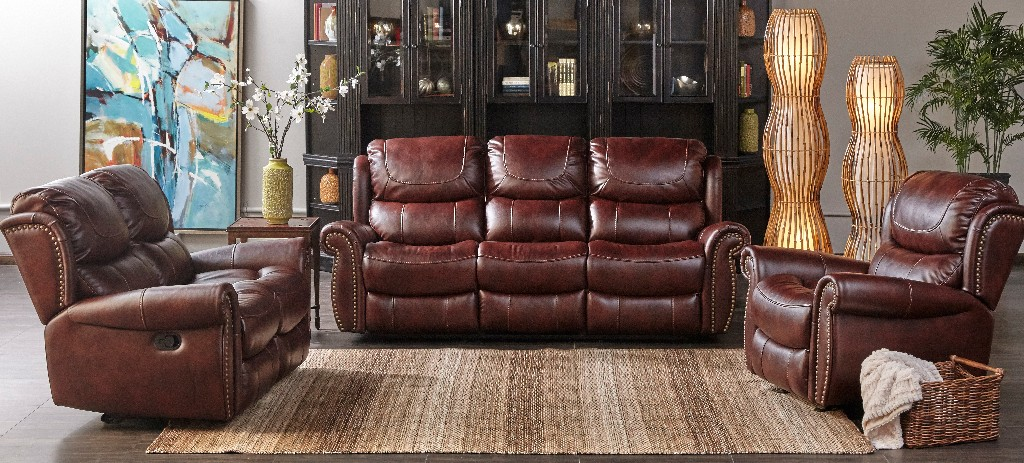 Myco Stanley Mahogany Leather Gel Recliner Sofa