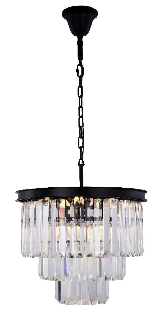 Elegant Lighting Light Matte Black Chandelier Clear Royal Cut Crystal