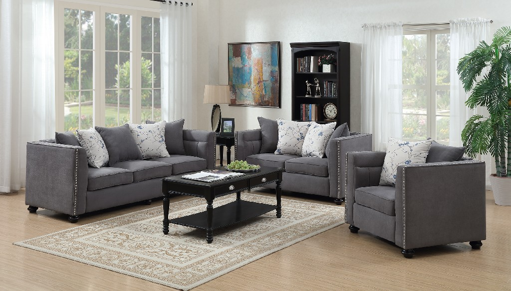 Myco Winslow Gray Loveseat Polyester Fabric