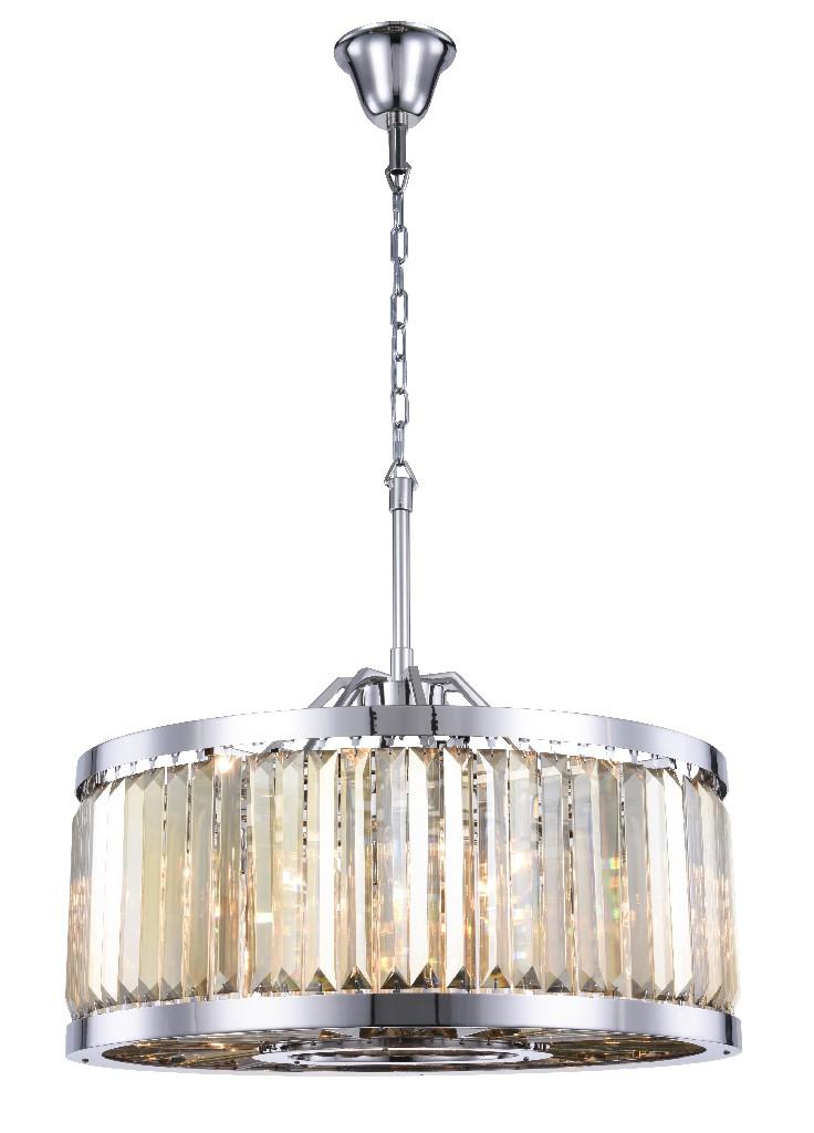 Elegant Lighting Light Polished Nickel Chandelier Golden Teak Smoky