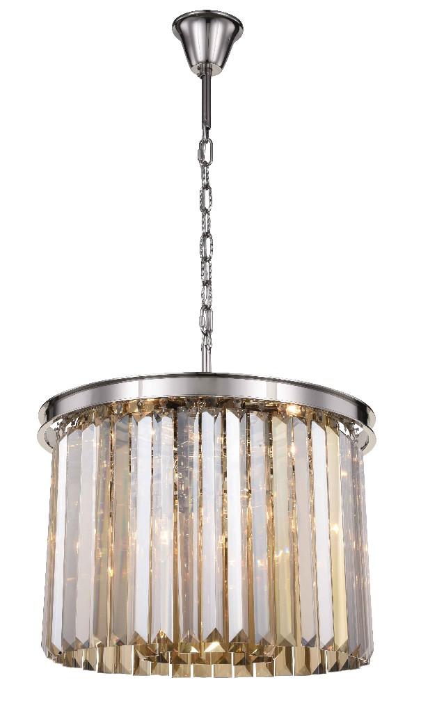 Elegant Lighting Light Polished Nickel Pendant Golden Teak Smoky Royal Cut Crystal