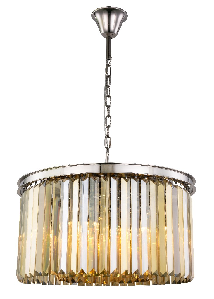 Elegant Lighting Light Polished Nickel Chandelier Golden Teak Smoky