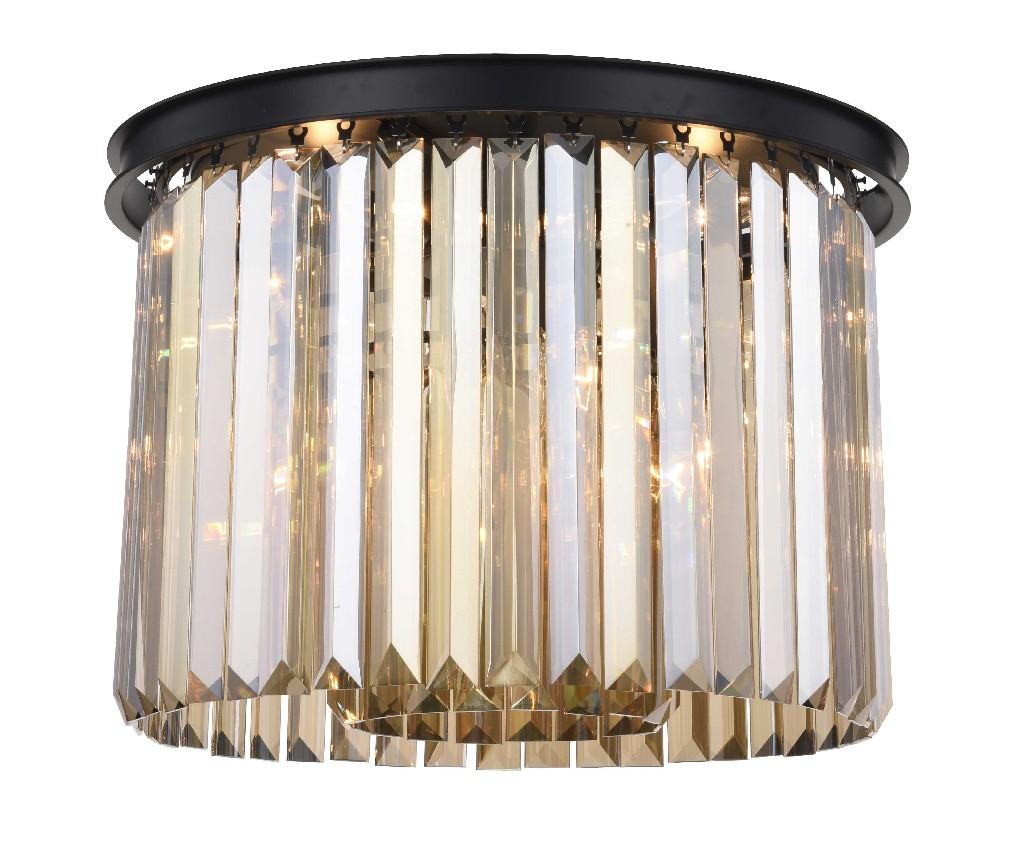 Elegant Lighting Light Matte Black Flush Mount Golden Teak Smoky Royal Cut Crystal