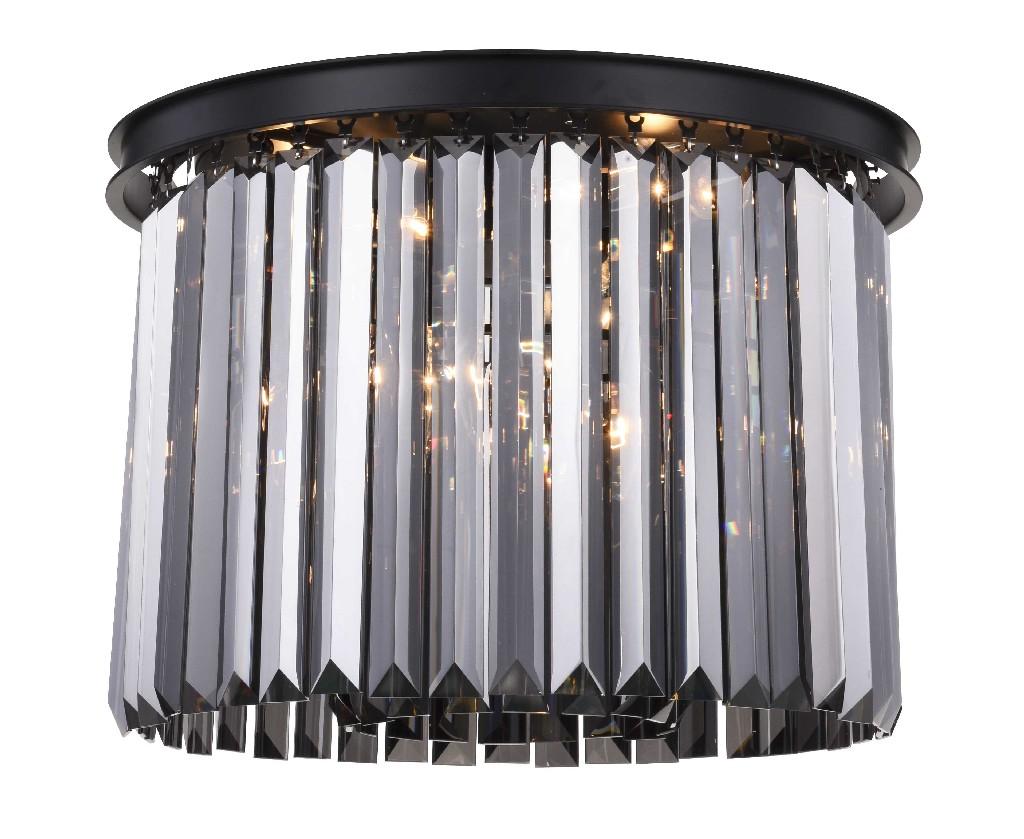 Elegant Lighting Light Matte Black Flush Mount Silver Shade Grey Royal Cut Crystal