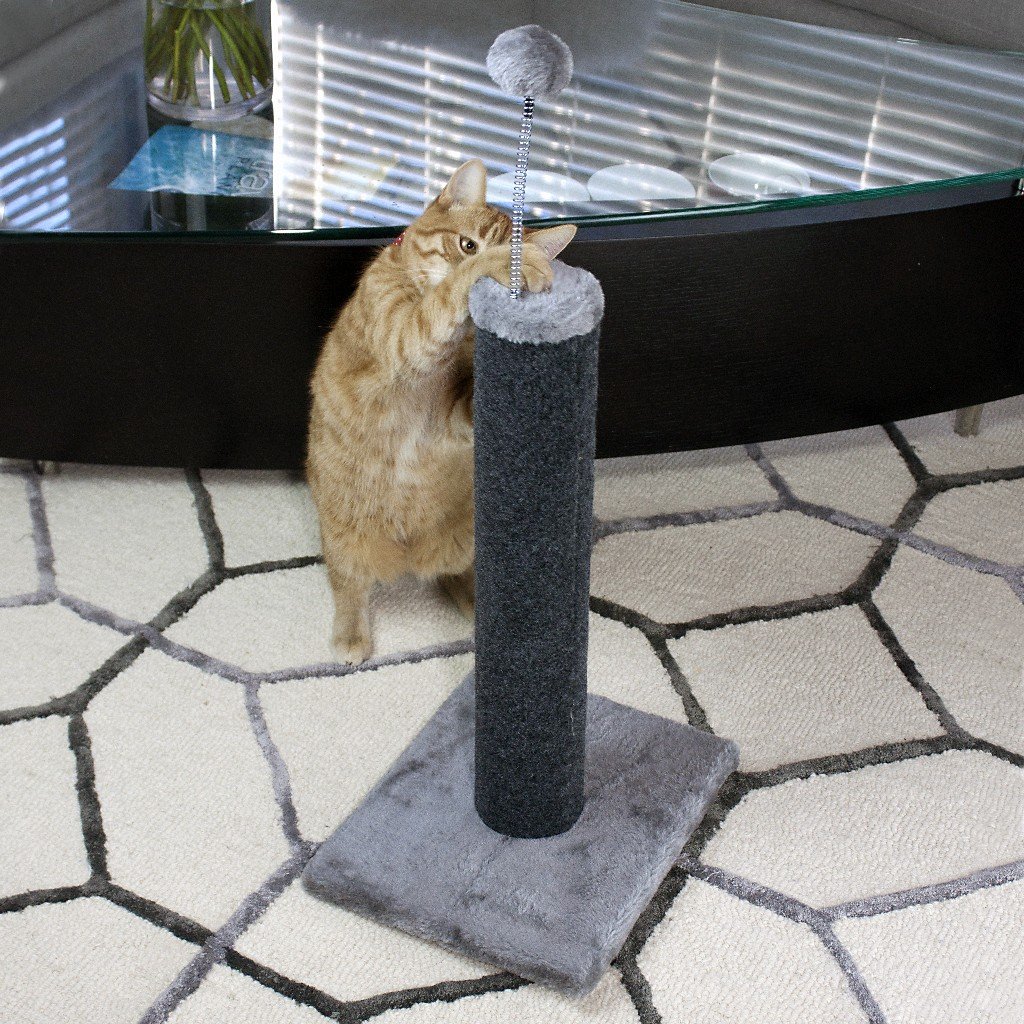 "Cat Craft 20"" Carpet Scratching Post (Grey Base & Pom-Pom - Charcoal Post) (18"" Post) - 12400101CH"