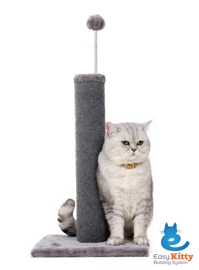 "Cat Craft 20"" Carpet Scratching Post (Grey Base & Pom-Pom - Grey Post) (18"" Post) - 12400101GR"