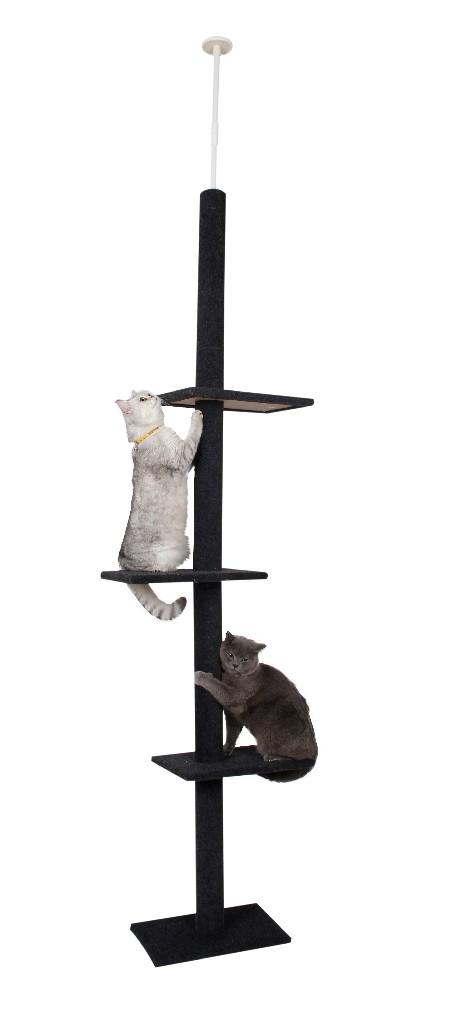 Cat Craft 3 Tier Floor-to-Ceiling Cat Tree Charcoal - 12400301CHCOM