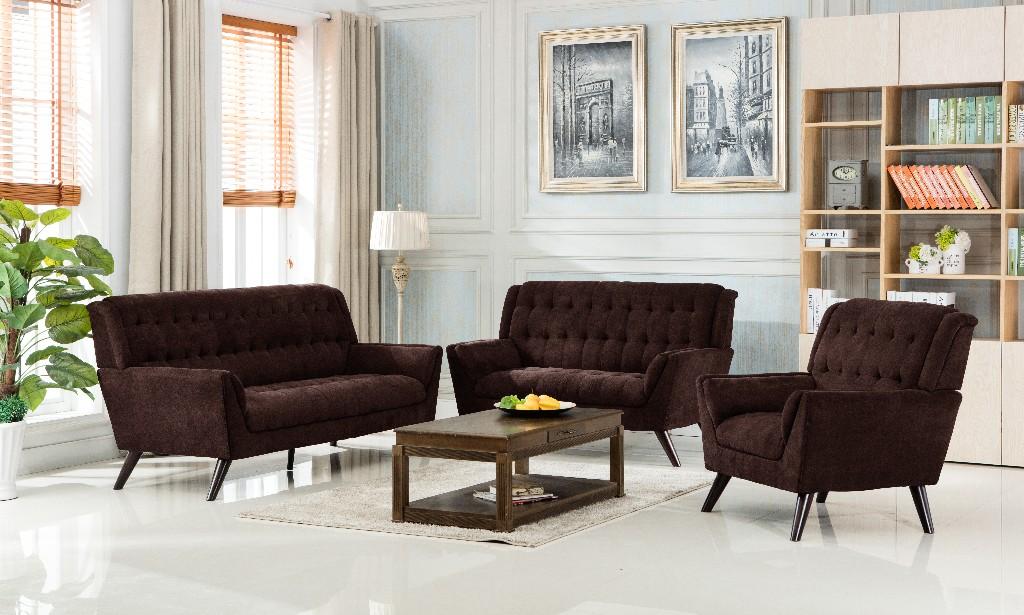 Myco Elston Brown Mid Century Sofa Polyester Fabric