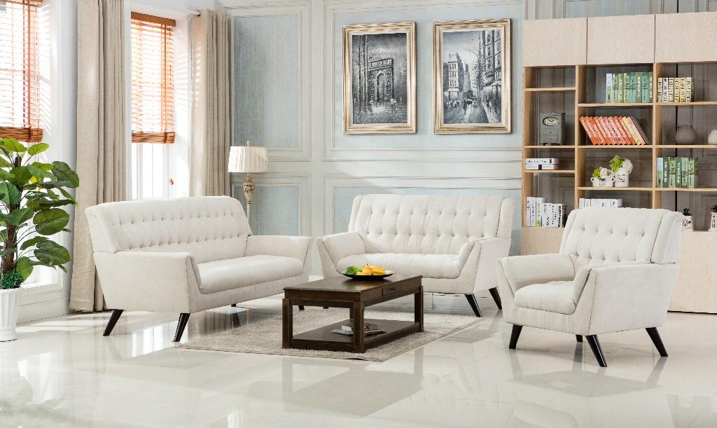 Myco Elston Beige Mid Century Sofa Polyester Fabric