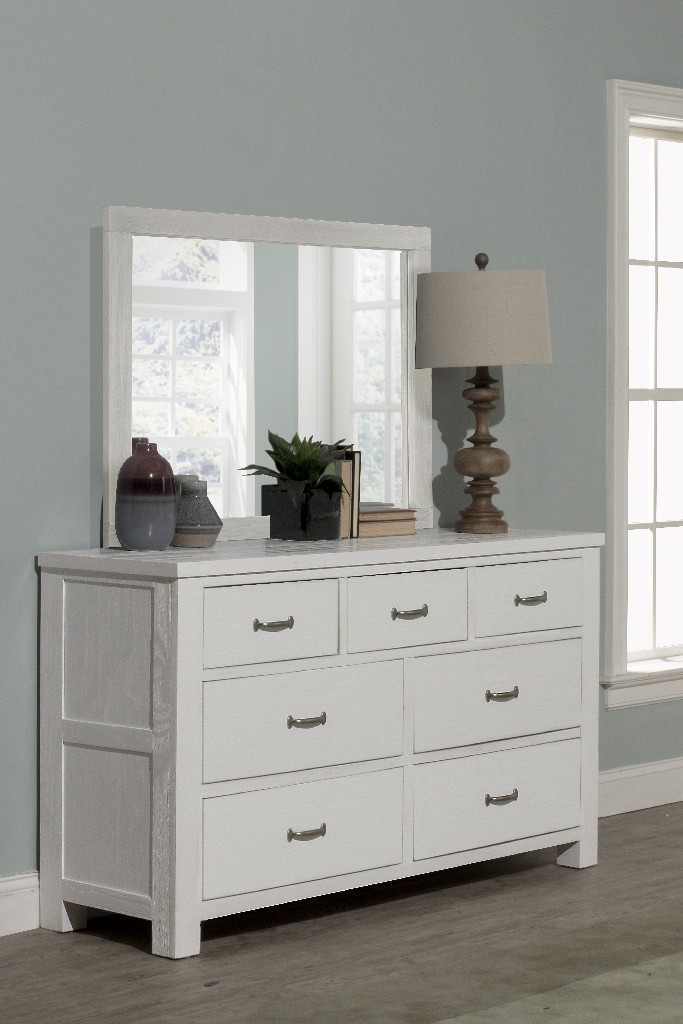 Hillsdale Drawer Dresser Mirror Set White Wood