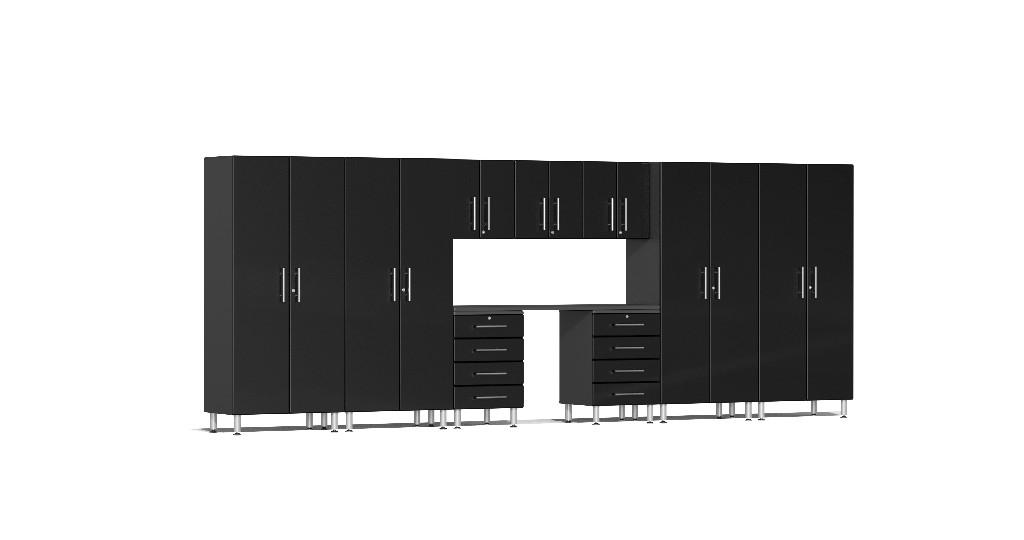 Ulti-MATE Garage 2.0 Series 10-Piece Kit with Recessed Worktop in Black Metallic UG22101B