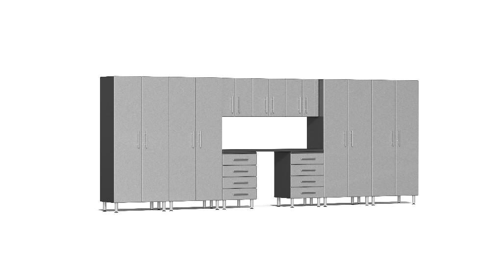 Ulti-MATE Garage 2.0 Series 10-Piece Kit with Recessed Worktop in Silver Metallic UG22101S