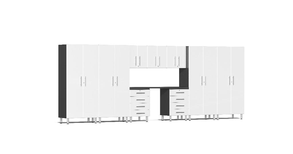 Ulti-MATE Garage 2.0 Series 10-Piece Kit with Recessed Worktop in White Metallic UG22101W