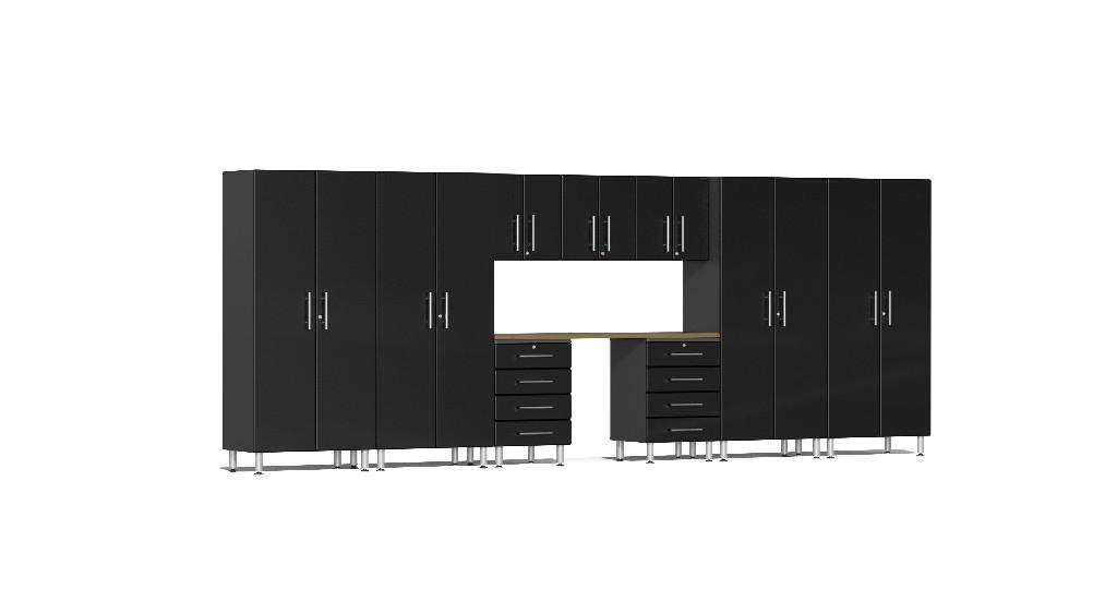 Ulti-MATE Garage 2.0 Series 10-Piece Kit with Bamboo Worktop in Black Metallic UG22102B