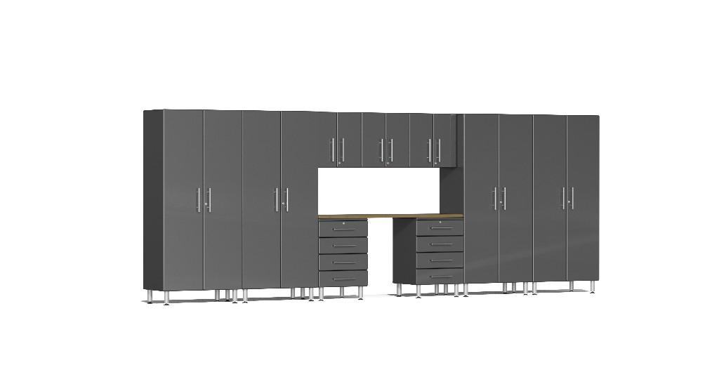 Ulti-MATE Garage 2.0 Series 10-Piece Kit with Bamboo Worktop in Grey Metallic UG22102G