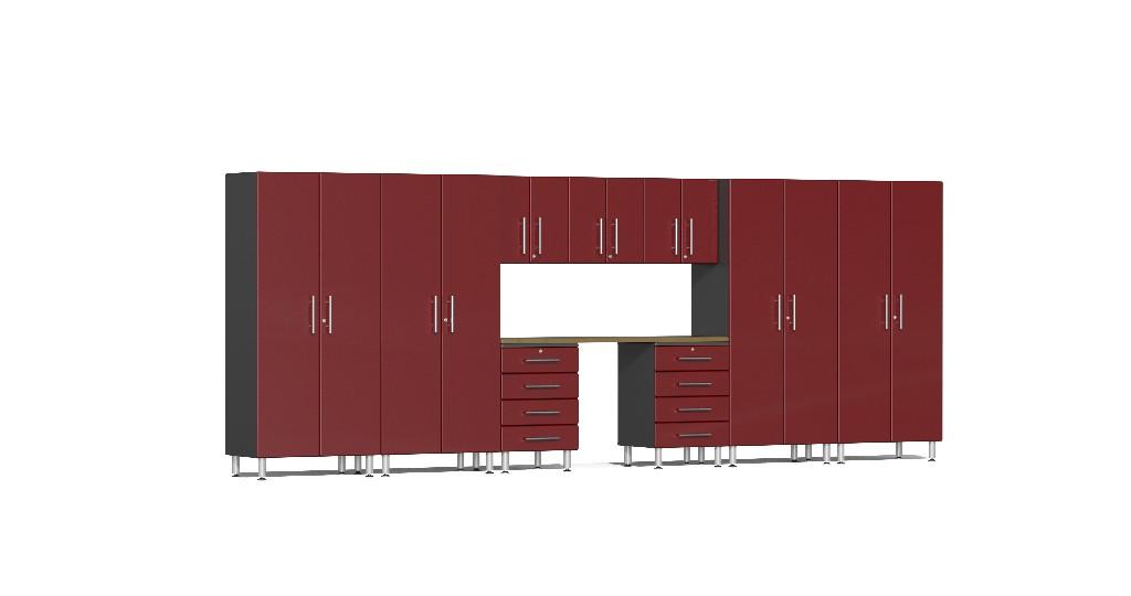 Ulti-MATE Garage 2.0 Series 10-Piece Kit with Bamboo Worktop in Red Metallic UG22102R