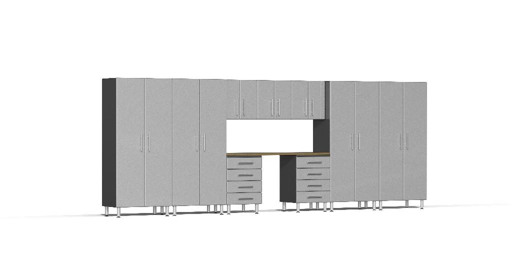 Ulti-MATE Garage 2.0 Series 10-Piece Kit with Bamboo Worktop in Silver Metallic UG22102S