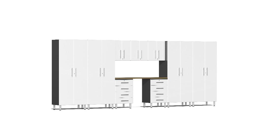 Ulti-MATE Garage 2.0 Series 10-Piece Kit with Bamboo Worktop in White Metallic UG22102W