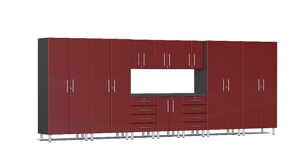 Ulti-MATE Garage 2.0 Series 11-Piece Kit with Workstation in Red Metallic UG22111R