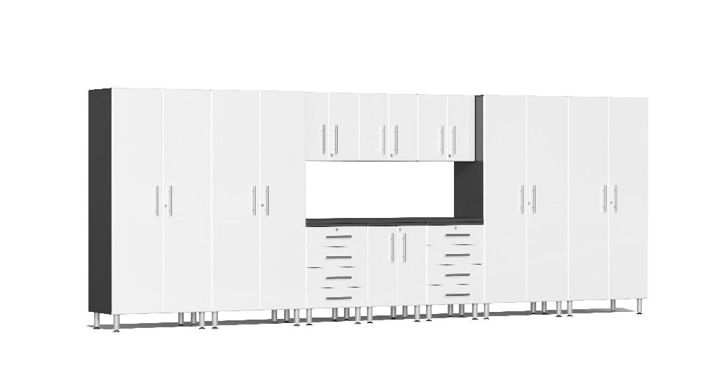 Ulti-MATE Garage 2.0 Series 11-Piece Kit with Workstation in White Metallic UG22111W