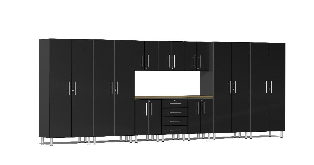 Ulti-MATE Garage 2.0 Series 11-Piece Kit with Bamboo Worktop in Black Metallic UG22112B