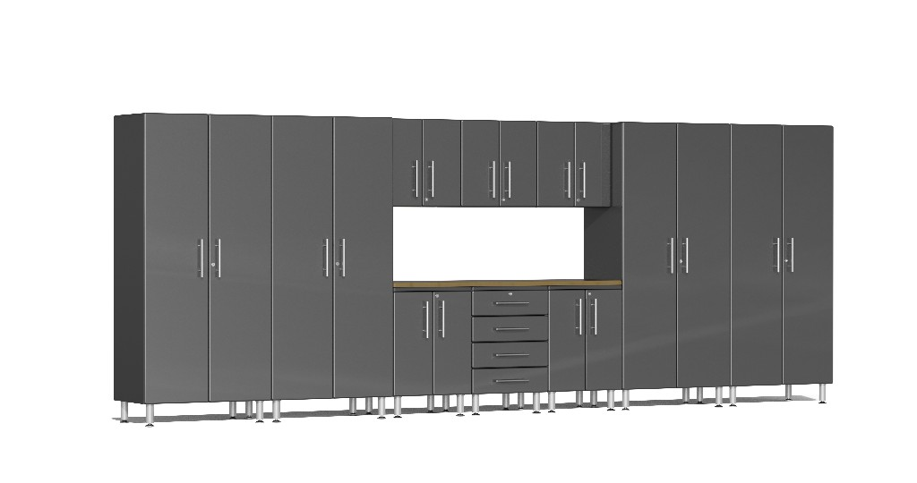 Ulti-MATE Garage 2.0 Series 11-Piece Kit with Bamboo Worktop in Grey Metallic UG22112G