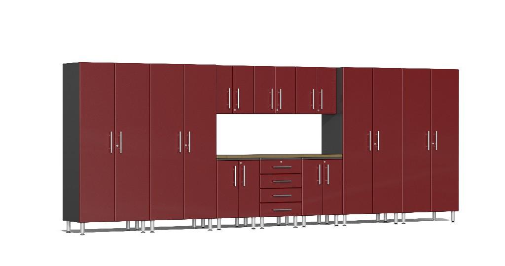 Ulti-MATE Garage 2.0 Series 11-Piece Kit with Bamboo Worktop in Red Metallic UG22112R