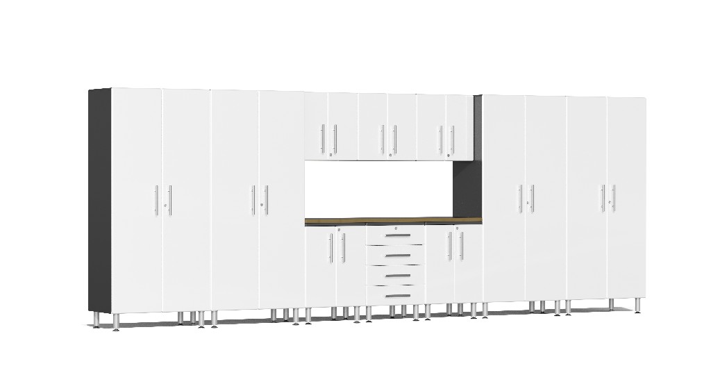 Ulti-MATE Garage 2.0 Series 11-Piece Kit with Bamboo Worktop in White Metallic UG22112W