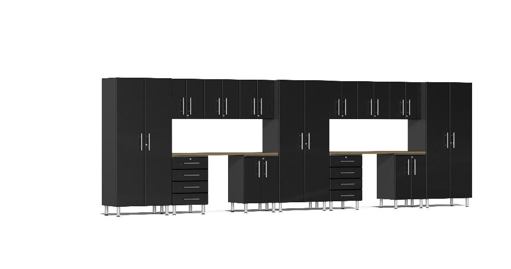 Ulti-MATE Garage 2.0 Series 15-Piece Kit with Dual Workstation in Black Metallic UG22152B
