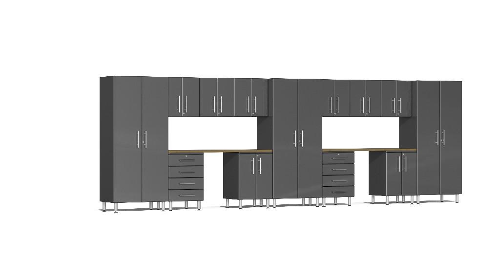 Ulti-MATE Garage 2.0 Series 15-Piece Kit with Dual Workstation in Grey Metallic UG22152G