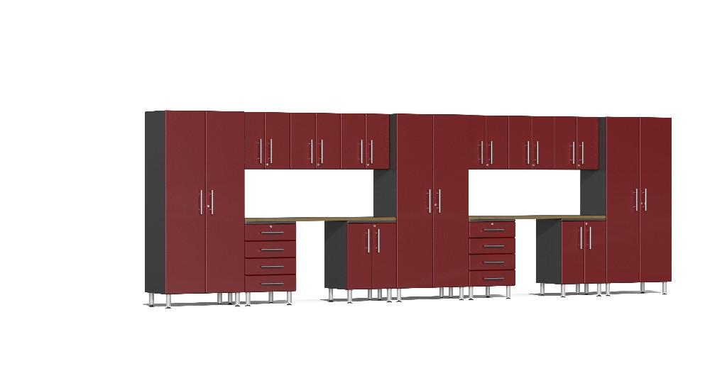 Ulti-MATE Garage 2.0 Series 15-Piece Kit with Dual Workstation in Red Metallic UG22152R