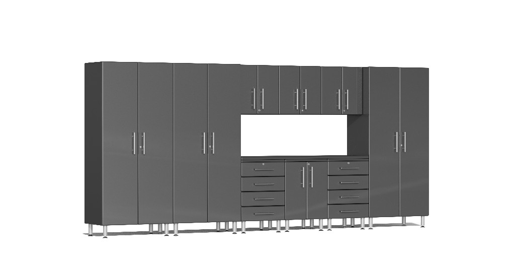 Ulti-MATE Garage 2.0 Series 10-Piece Kit with Recessed Worktop in Grey Metallic UG23101G