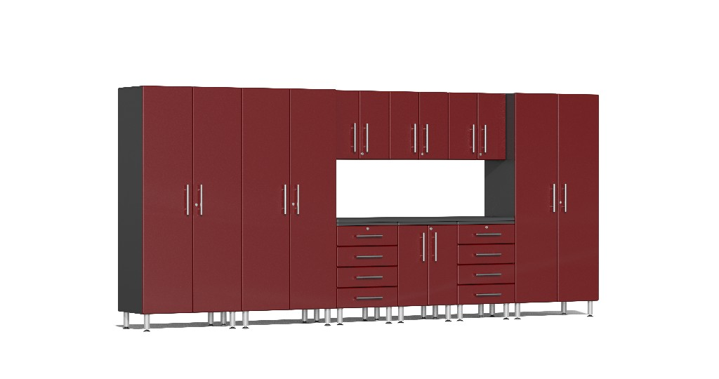 Ulti-MATE Garage 2.0 Series 10-Piece Kit with Recessed Worktop in Red Metallic UG23101R