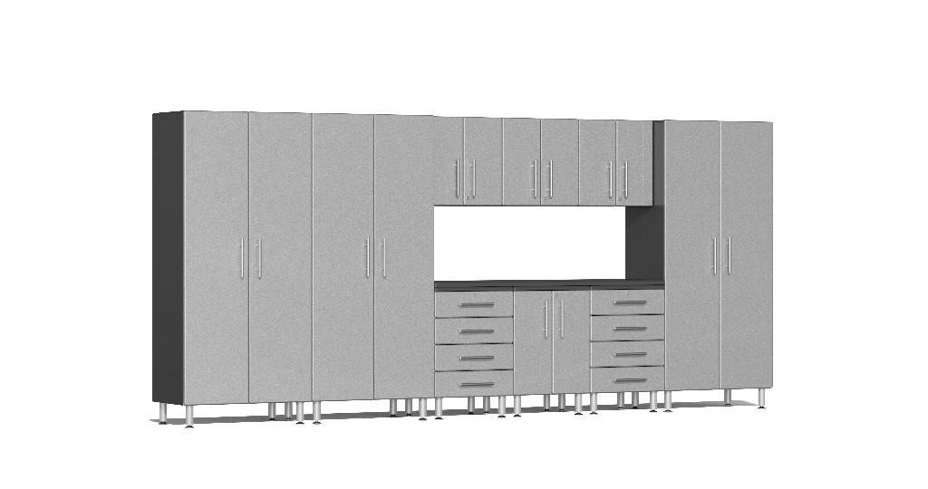 Ulti-MATE Garage 2.0 Series 10-Piece Kit with Recessed Worktop in Silver Metallic UG23101S