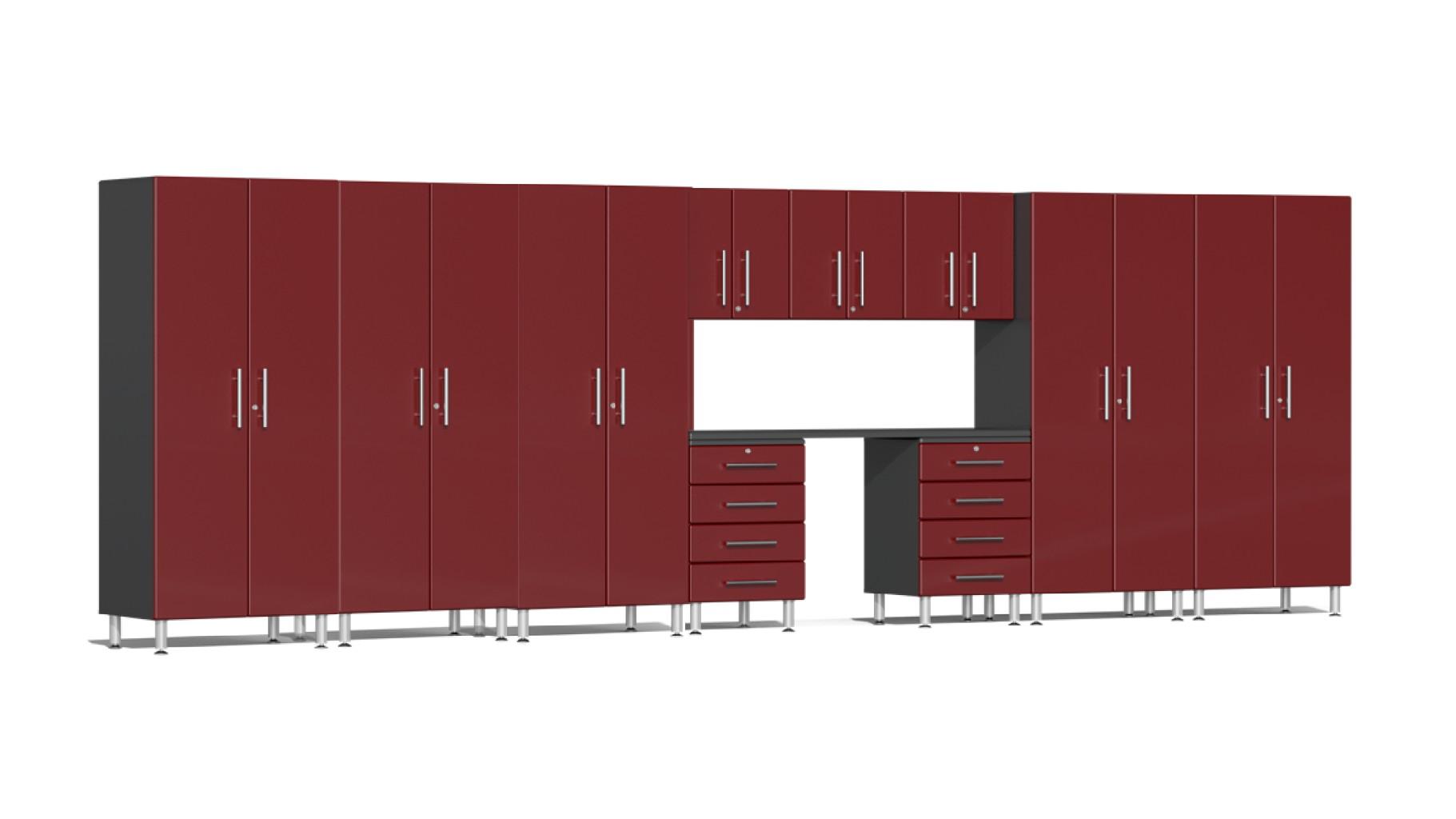 Ulti-MATE Garage 2.0 Series 11-Piece Kit with Workstation in Red Metallic UG23111R