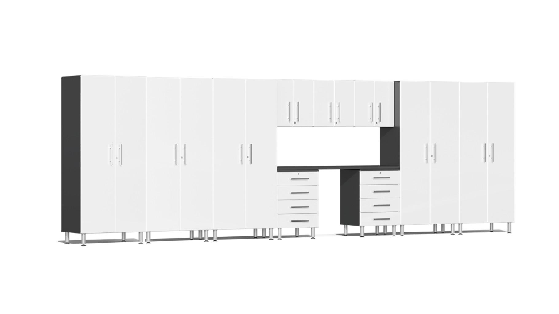 Ulti-MATE Garage 2.0 Series 11-Piece Kit with Workstation in White Metallic UG23111W