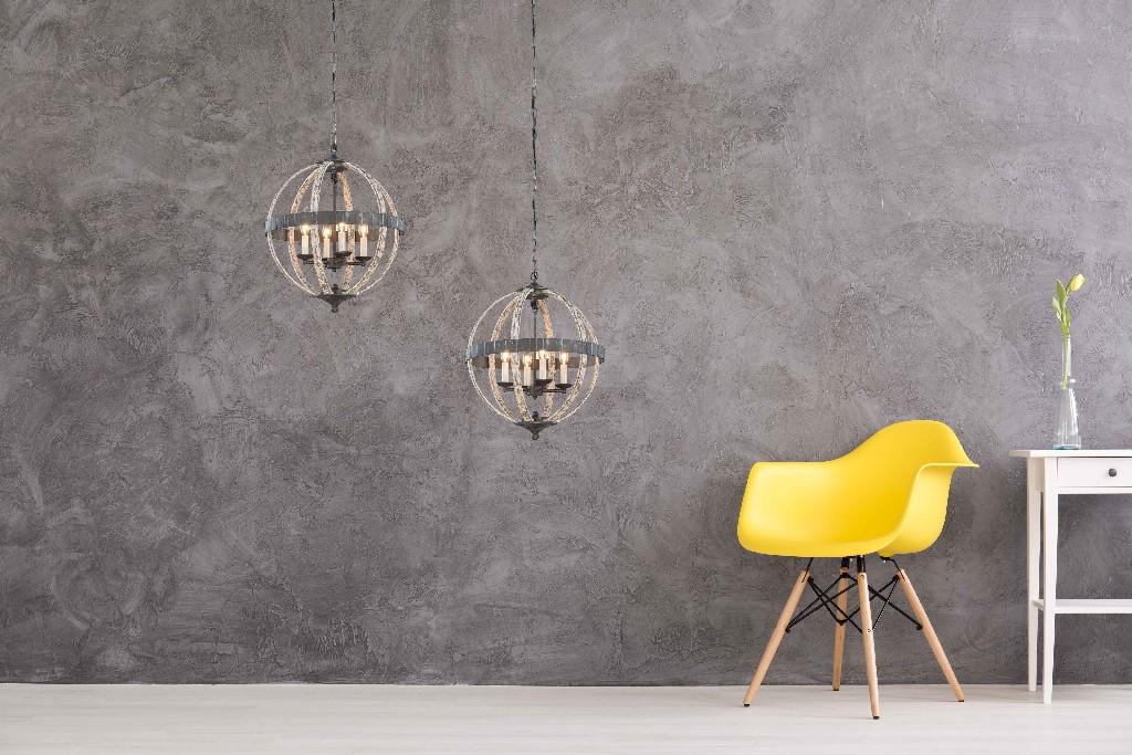 Elegant Lighting Orbus Light Ivory Wash Steel Grey Pendant