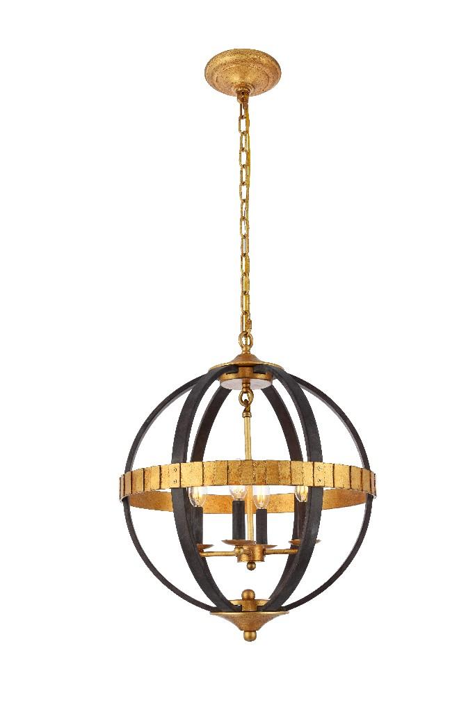 Elegant Lighting Orbus Light Saddle Rust Golden Iron Pendant