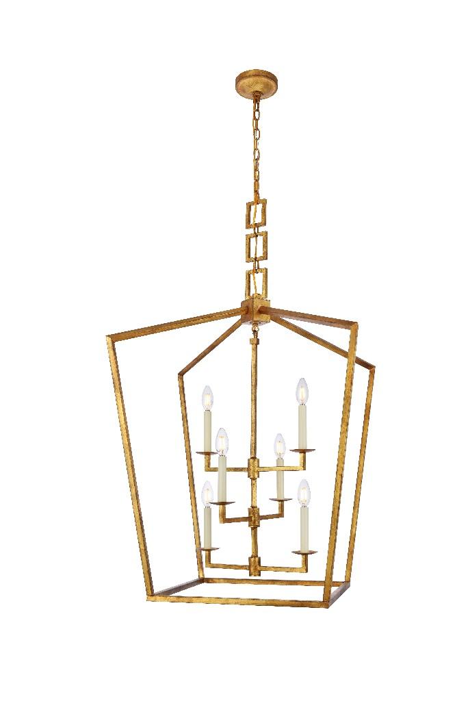 Elegant Lighting Light Golden Iron Chandelier