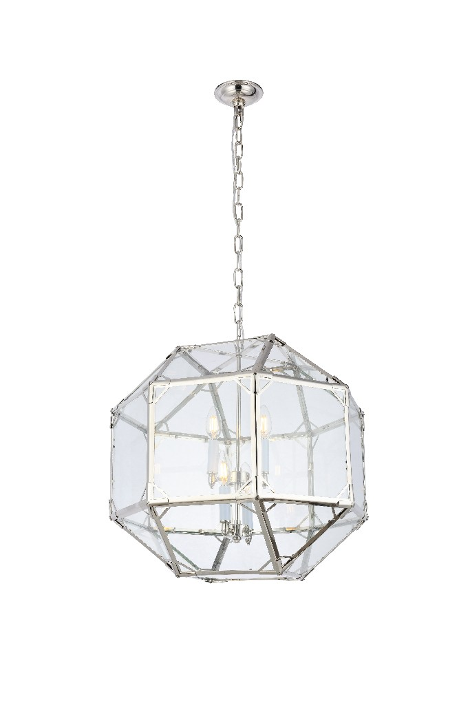 Elegant Lighting Gordon Light Polished Nickel Pendant