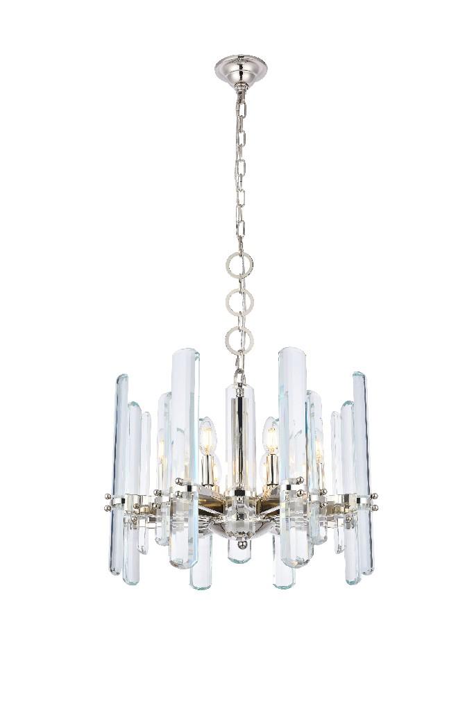 Elegant Lighting Lincoln Light Polished Nickel Chandelier Clear Royal Cut Crystal