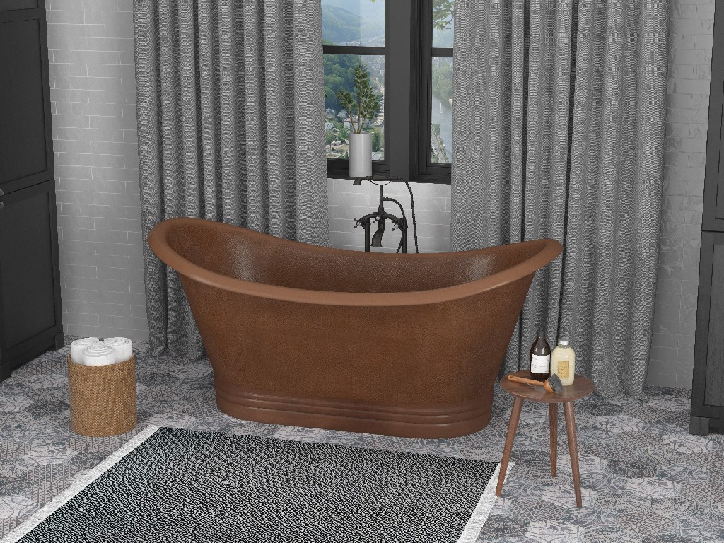 Anzzi Sumatra Handmade Double Slipper Whirlpool Bathtub
