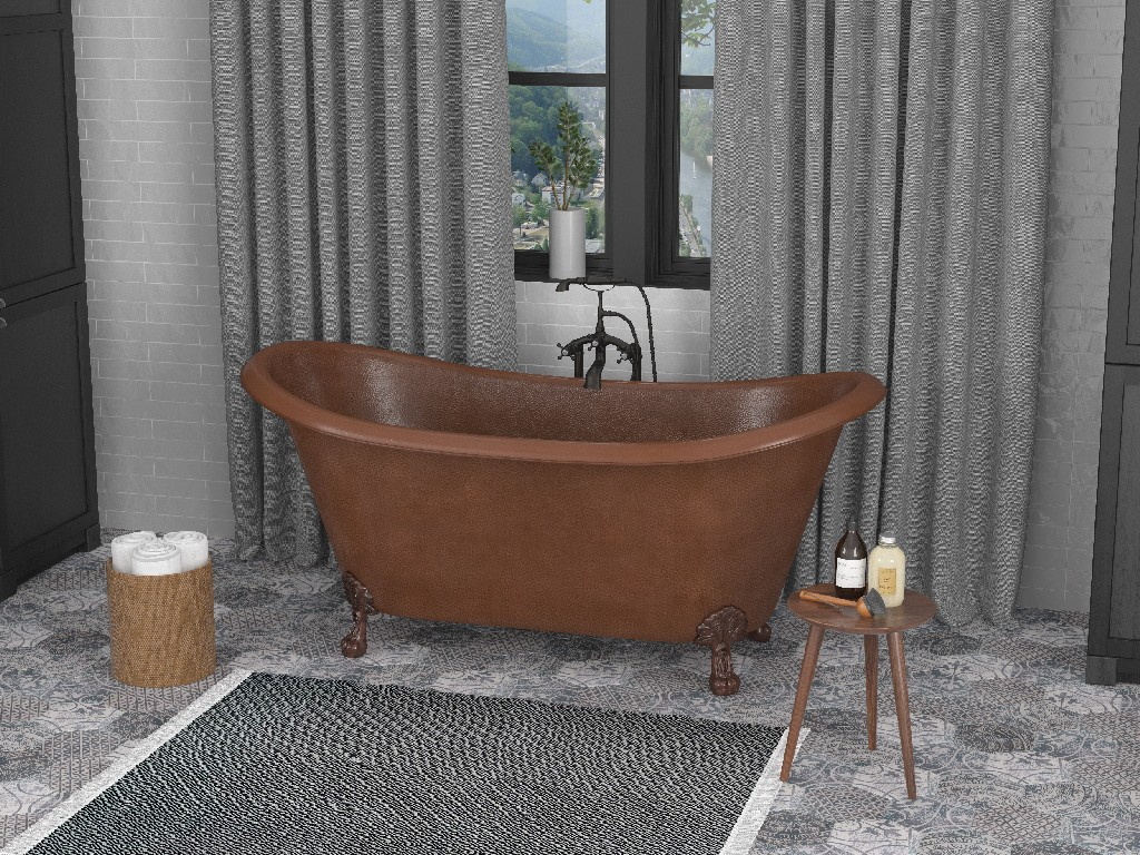 Anzzi Iida Handmade Double Slipper Whirlpool Bathtub