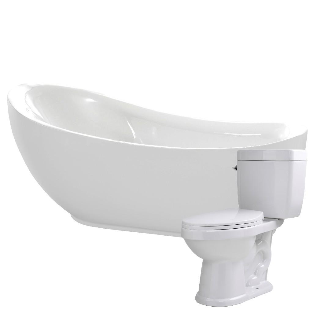 Anzzi Soaking Bathtub Single Flush Toilet